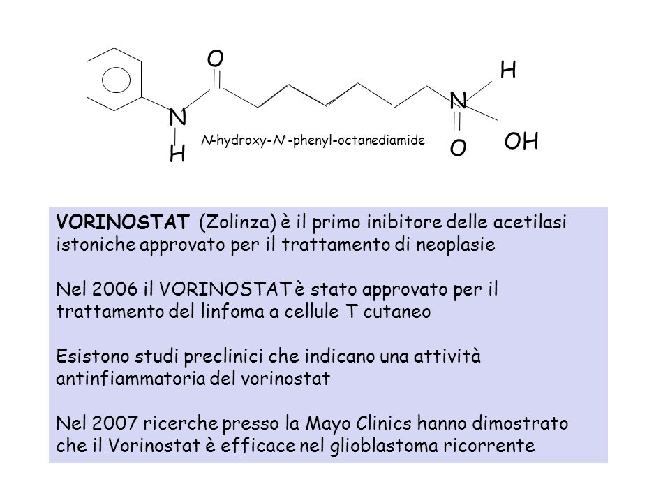 VORINOSTAT (Zolinza) è il primo inibitore delle acetilasi istoniche approvato per il trattamento di neoplasie