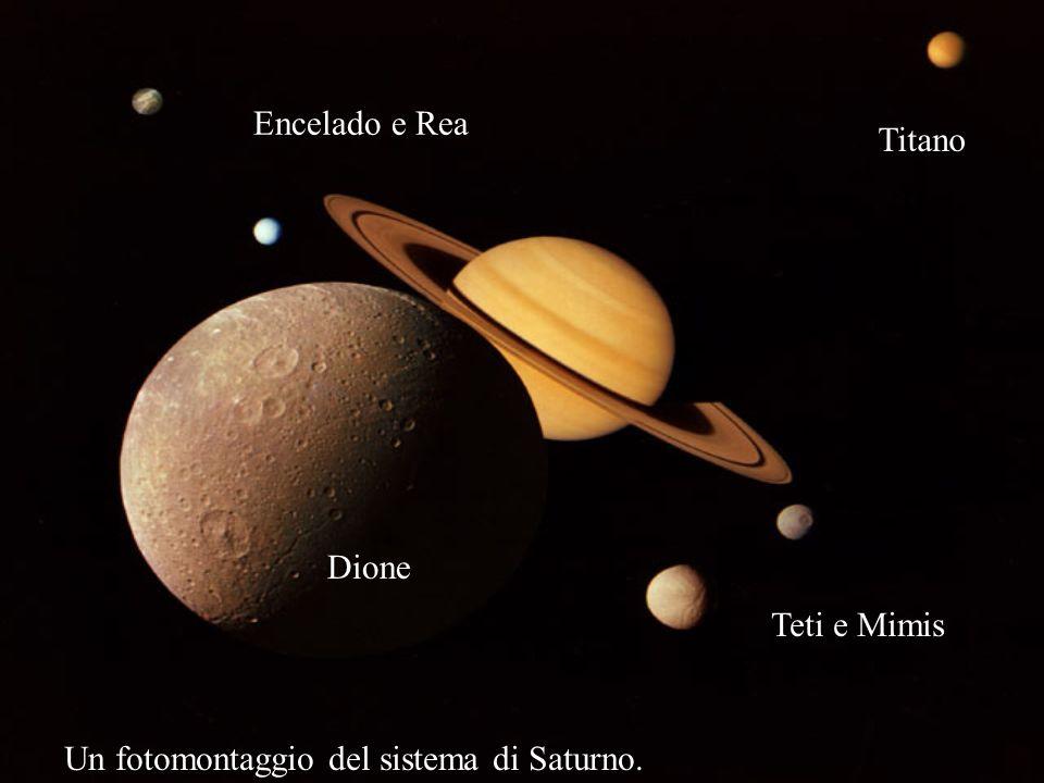 Encelado e Rea Titano Dione Teti e Mimis Un fotomontaggio del sistema di Saturno.