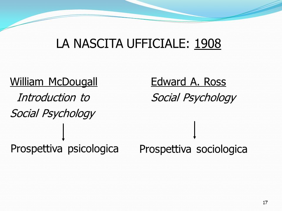 LA NASCITA UFFICIALE: 1908 William McDougall Edward A. Ross