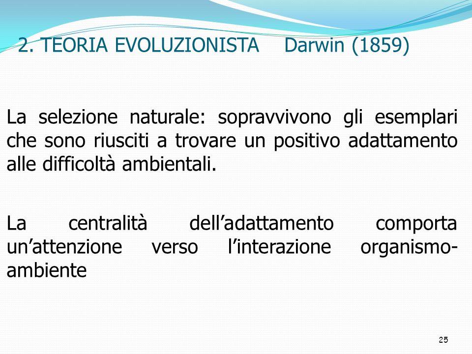 2. TEORIA EVOLUZIONISTA Darwin (1859)