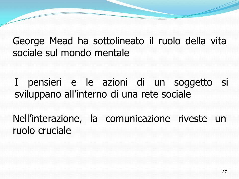 George Mead ha sottolineato il ruolo della vita sociale sul mondo mentale