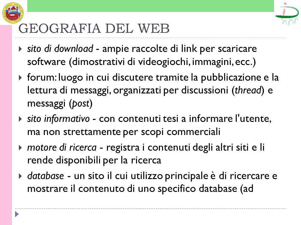 GEOGRAFIA DEL WEB sito di download - ampie raccolte di link per scaricare software (dimostrativi di videogiochi, immagini, ecc.)