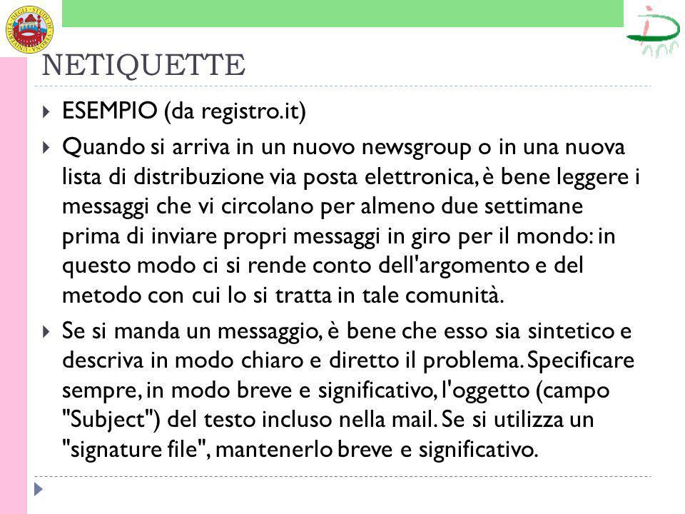 NETIQUETTE ESEMPIO (da registro.it)