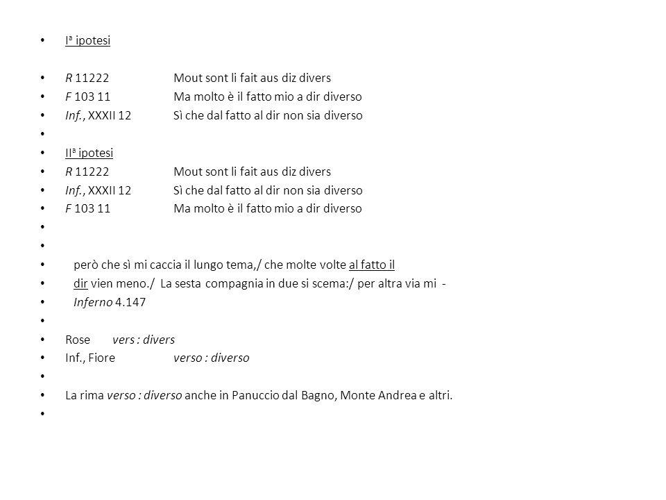 Ia ipotesi R 11222 Mout sont li fait aus diz divers. F 103 11 Ma molto è il fatto mio a dir diverso.