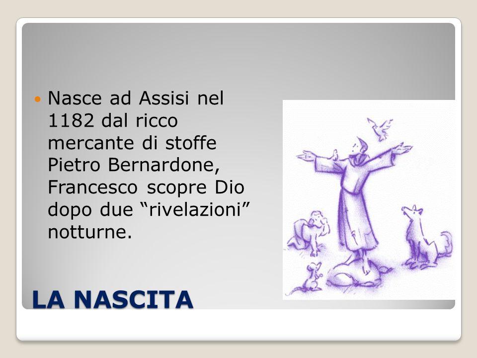 Nasce ad Assisi nel 1182 dal ricco mercante di stoffe Pietro Bernardone, Francesco scopre Dio dopo due rivelazioni notturne.