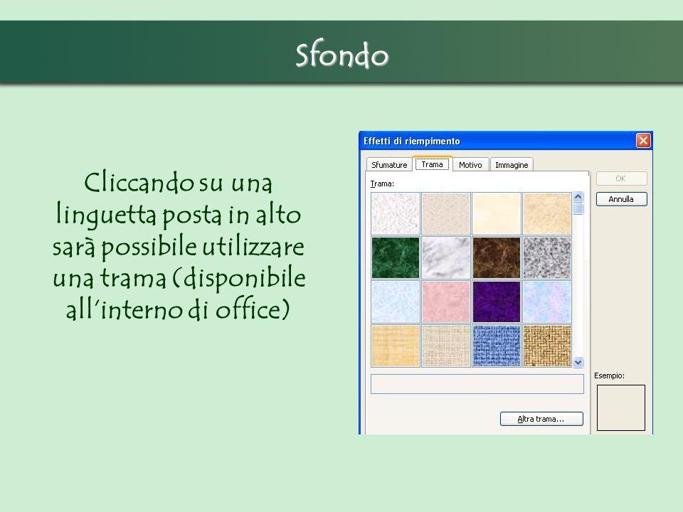 Sfondo Cliccando su una linguetta posta in alto sarà possibile utilizzare una trama (disponibile all'interno di office)