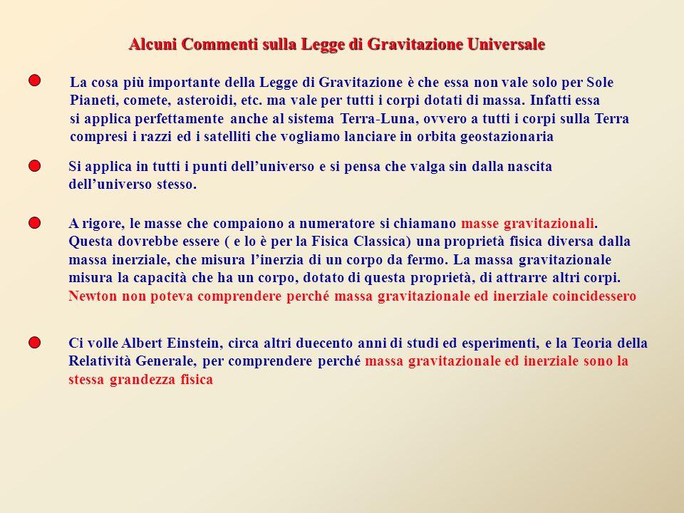 Alcuni Commenti sulla Legge di Gravitazione Universale