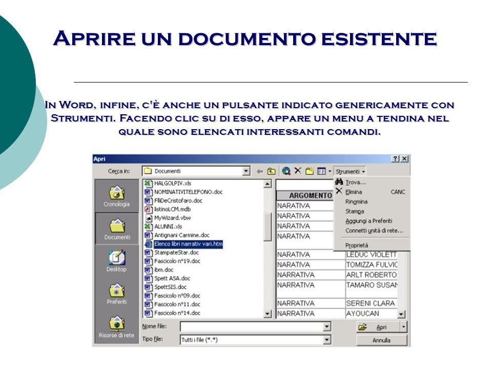 Aprire un documento esistente
