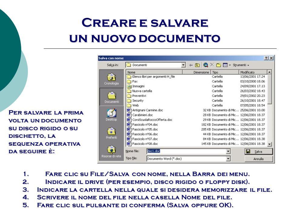Creare e salvare un nuovo documento