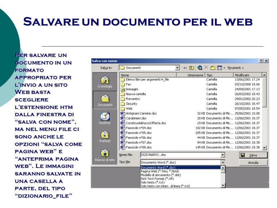 Salvare un documento per il web