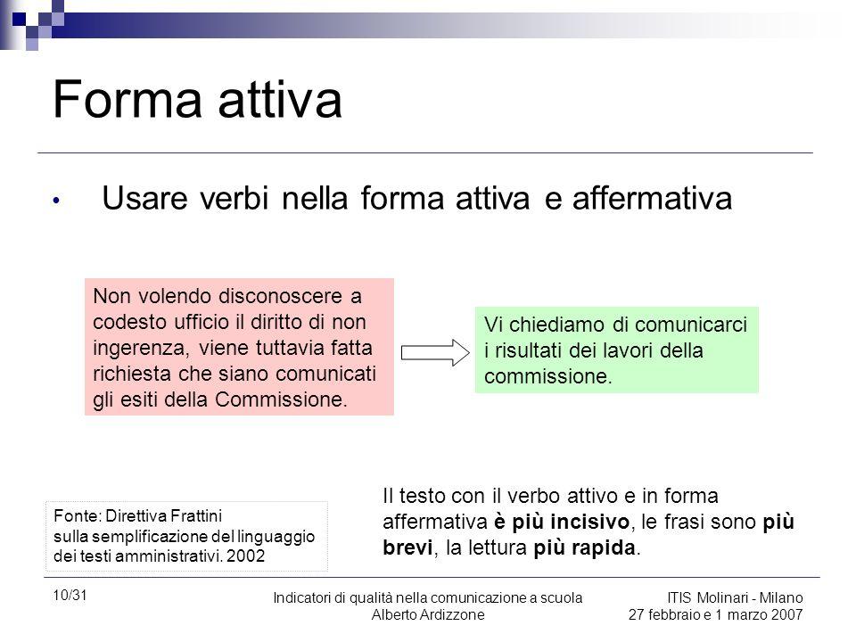 Forma attiva Usare verbi nella forma attiva e affermativa
