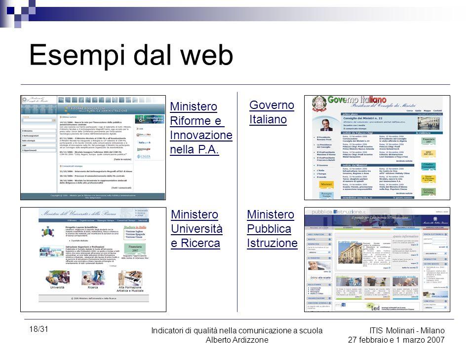 Esempi dal web Ministero Riforme e Innovazione nella P.A.
