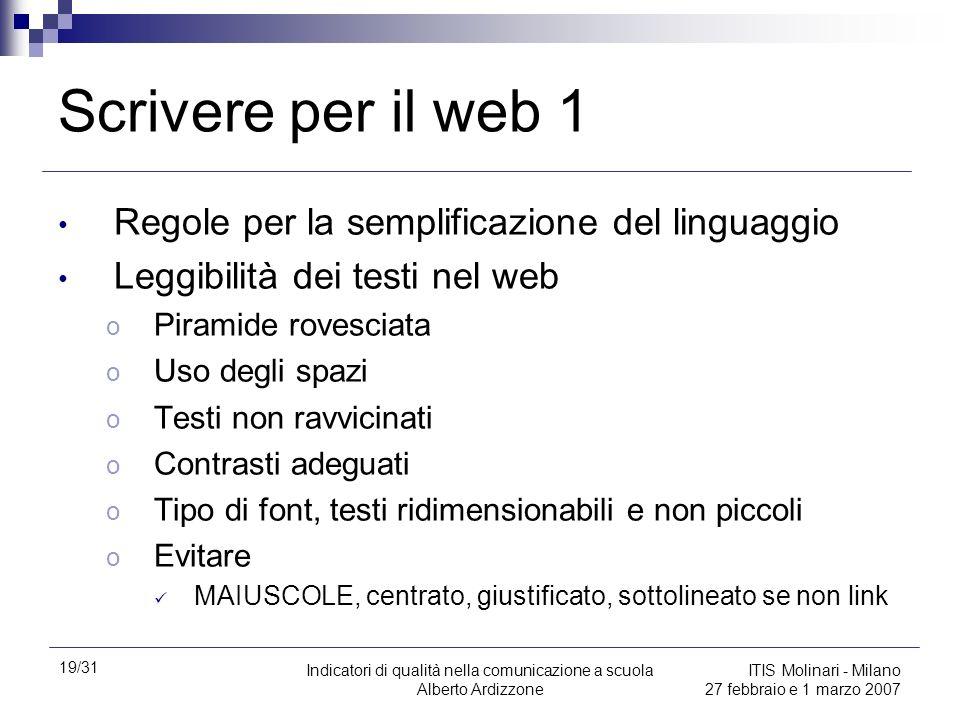 Scrivere per il web 1 Regole per la semplificazione del linguaggio