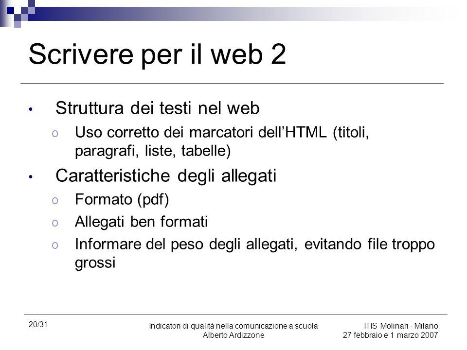 Scrivere per il web 2 Struttura dei testi nel web
