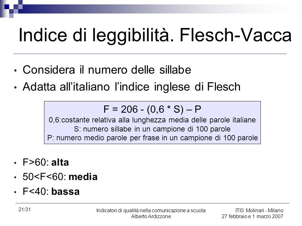 Indice di leggibilità. Flesch-Vacca
