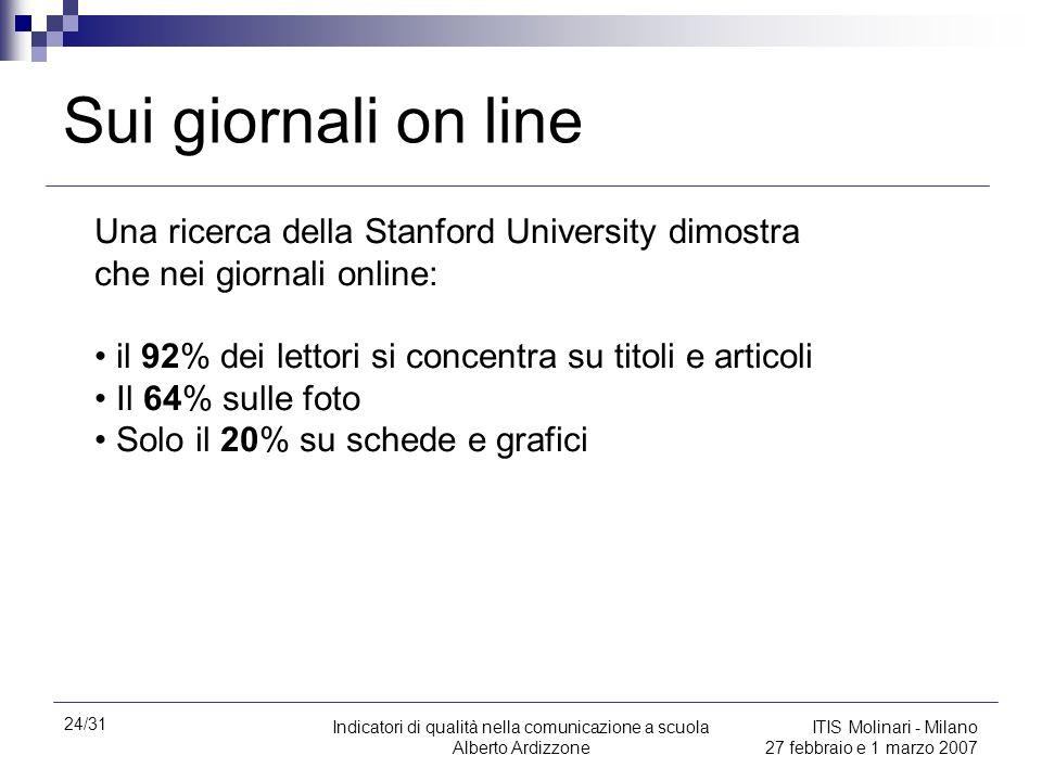 Sui giornali on line Una ricerca della Stanford University dimostra che nei giornali online: il 92% dei lettori si concentra su titoli e articoli.
