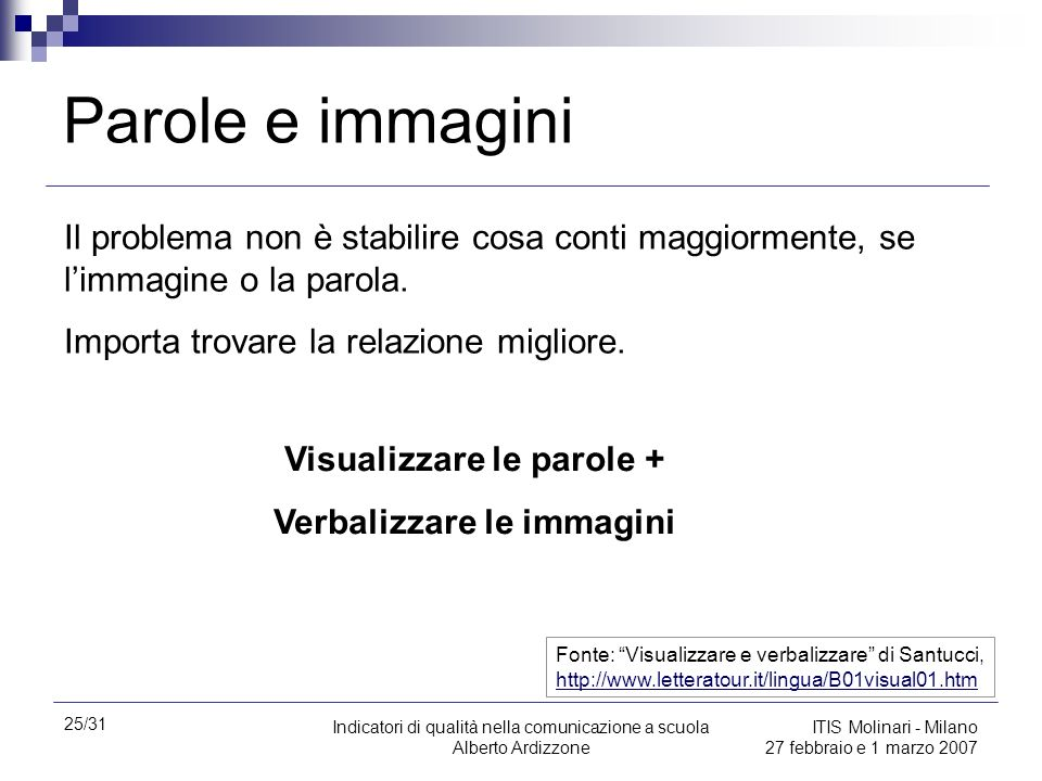Visualizzare le parole + Verbalizzare le immagini