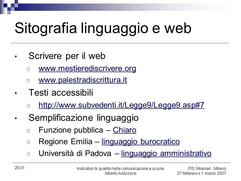 Sitografia linguaggio e web
