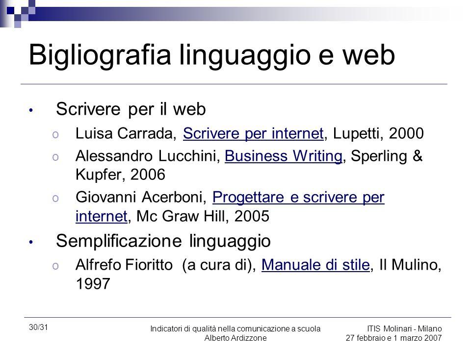 Bigliografia linguaggio e web