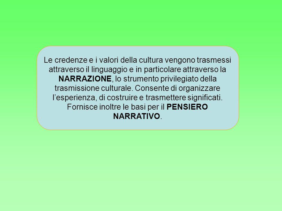 Le credenze e i valori della cultura vengono trasmessi attraverso il linguaggio e in particolare attraverso la NARRAZIONE, lo strumento privilegiato della trasmissione culturale.
