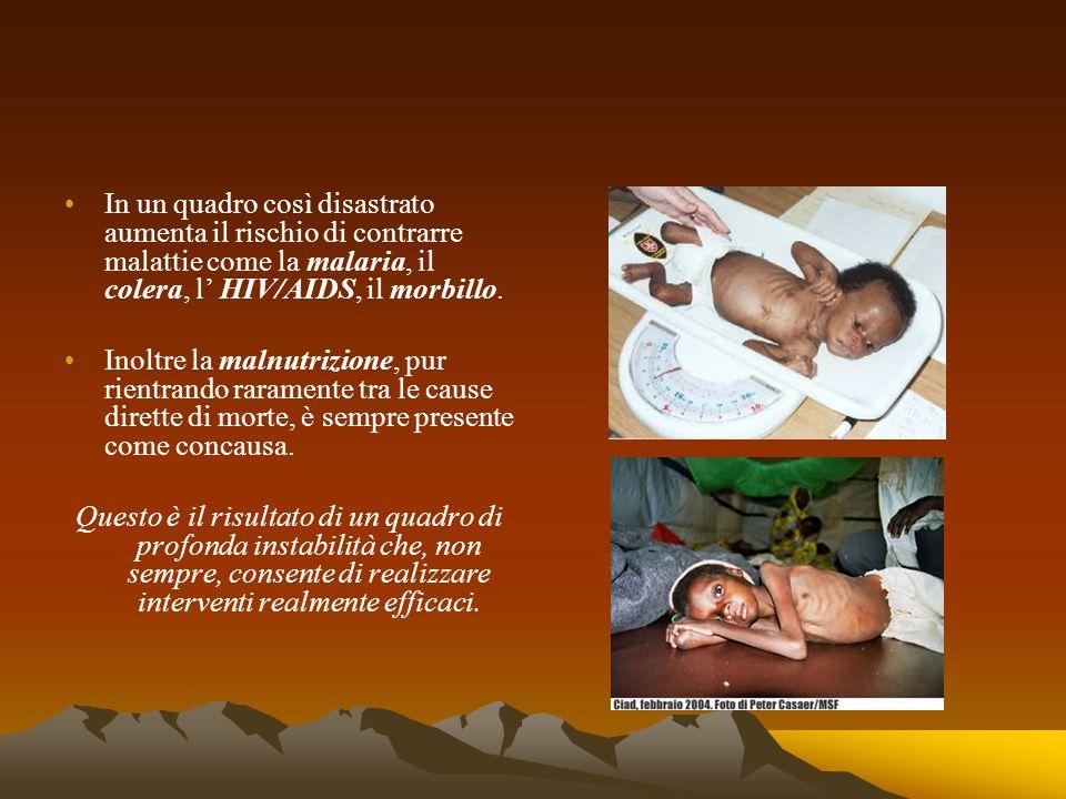 In un quadro così disastrato aumenta il rischio di contrarre malattie come la malaria, il colera, l' HIV/AIDS, il morbillo.