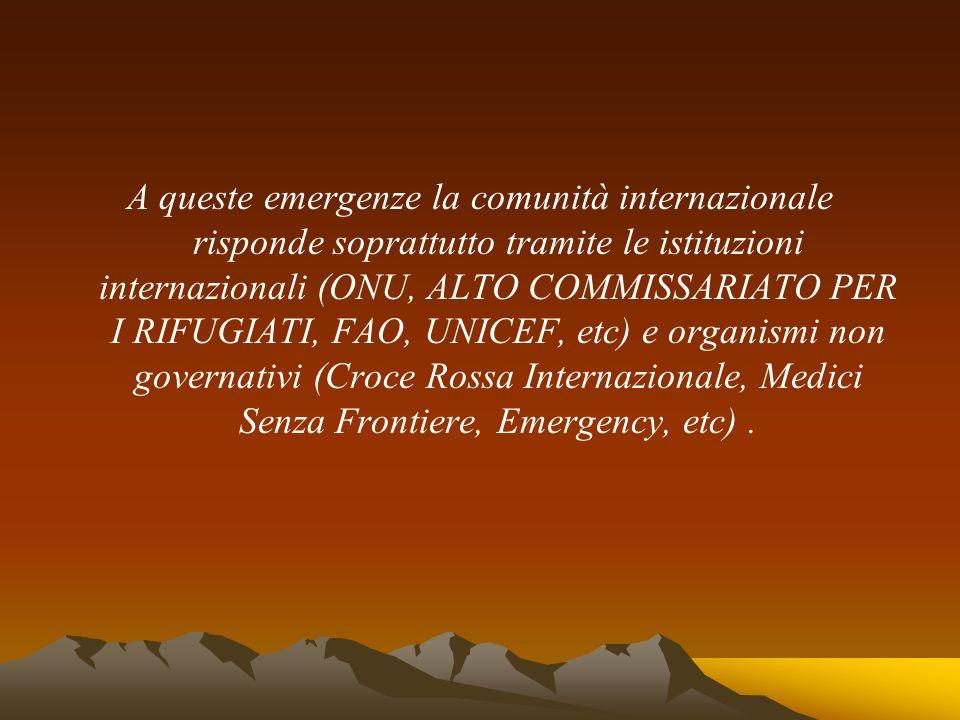 A queste emergenze la comunità internazionale risponde soprattutto tramite le istituzioni internazionali (ONU, ALTO COMMISSARIATO PER I RIFUGIATI, FAO, UNICEF, etc) e organismi non governativi (Croce Rossa Internazionale, Medici Senza Frontiere, Emergency, etc) .