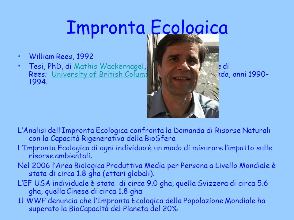 Impronta Ecologica William Rees, 1992
