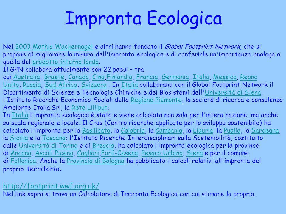 Impronta Ecologica http://footprint.wwf.org.uk/