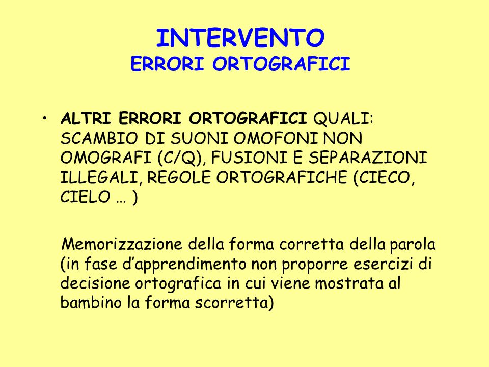 INTERVENTO ERRORI ORTOGRAFICI