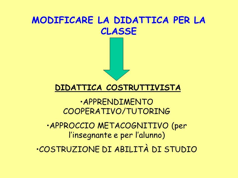MODIFICARE LA DIDATTICA PER LA CLASSE