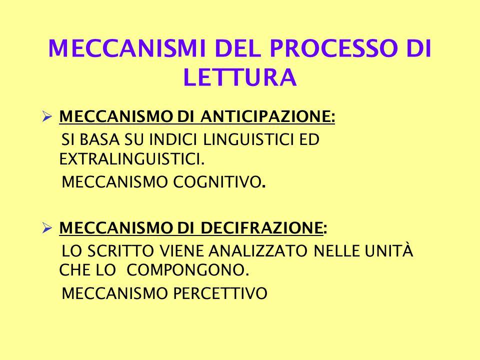 MECCANISMI DEL PROCESSO DI LETTURA