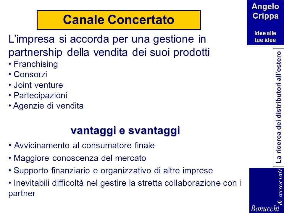 Canale Concertato L'impresa si accorda per una gestione in partnership della vendita dei suoi prodotti.
