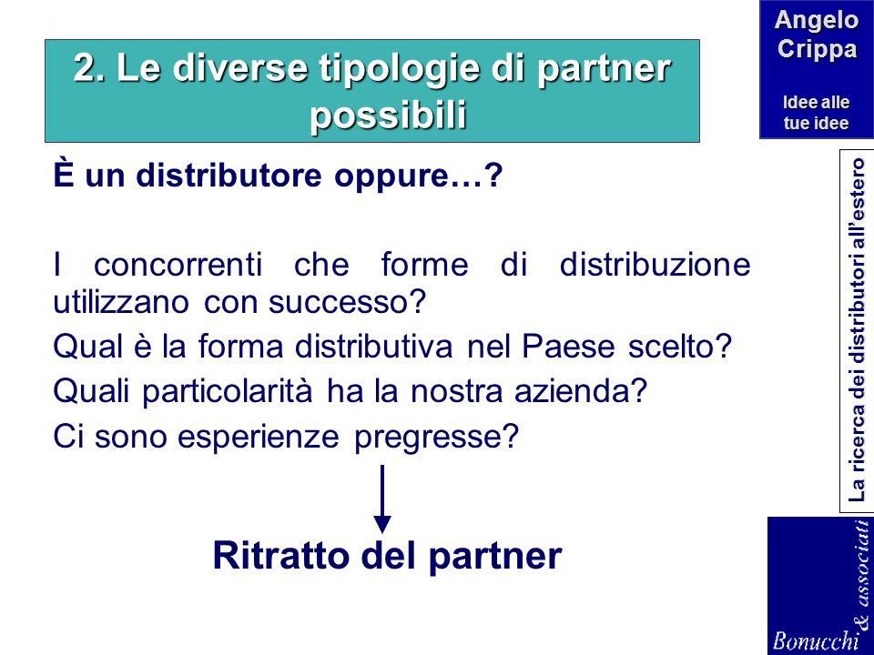 2. Le diverse tipologie di partner possibili