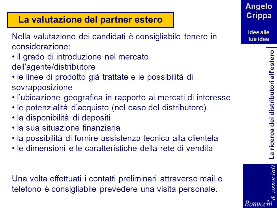 La valutazione del partner estero