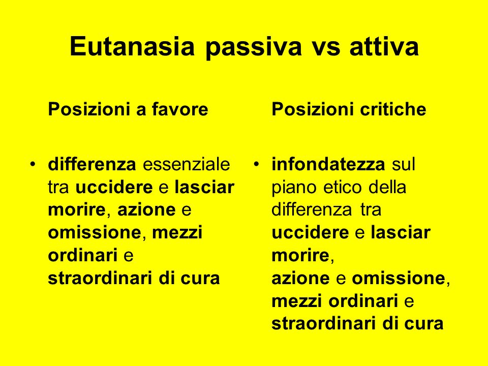 Eutanasia passiva vs attiva