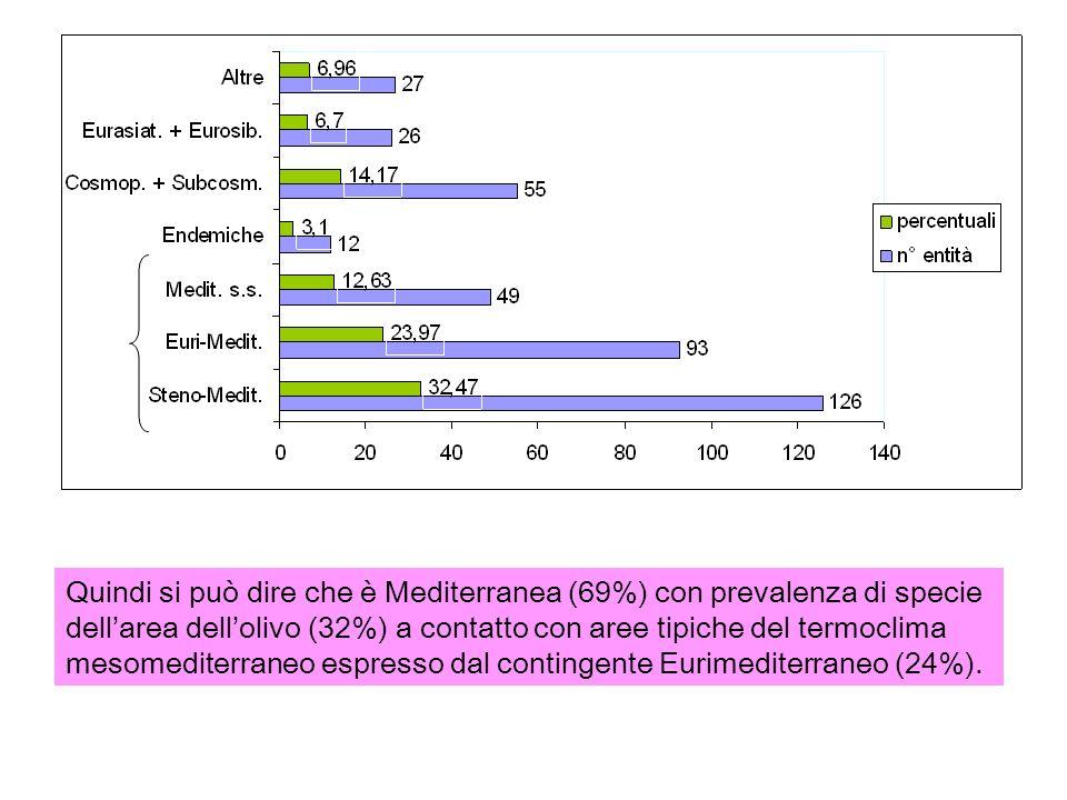 Quindi si può dire che è Mediterranea (69%) con prevalenza di specie dell'area dell'olivo (32%) a contatto con aree tipiche del termoclima mesomediterraneo espresso dal contingente Eurimediterraneo (24%).