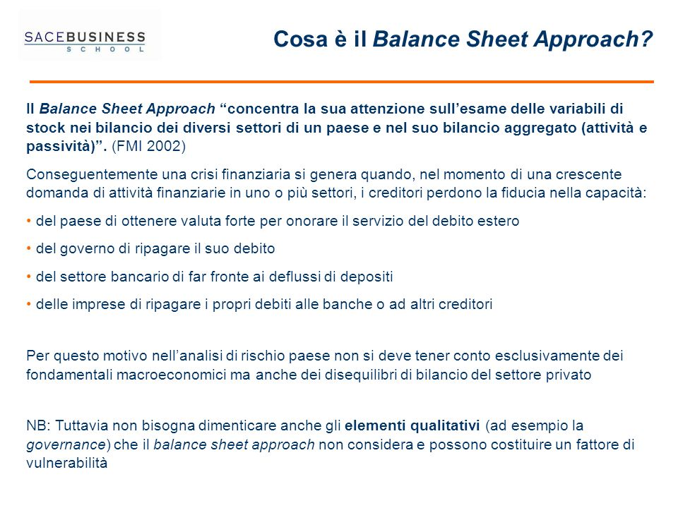 Cosa è il Balance Sheet Approach