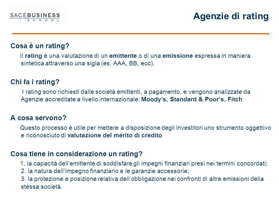 Agenzie di rating Cosa è un rating