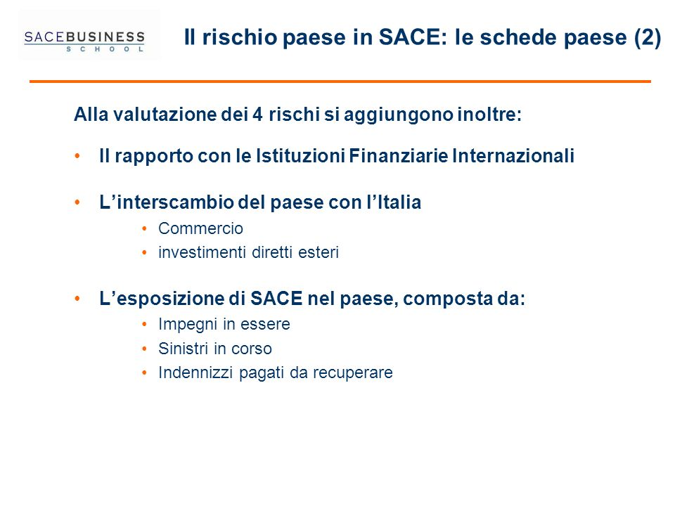 Il rischio paese in SACE: le schede paese (2)