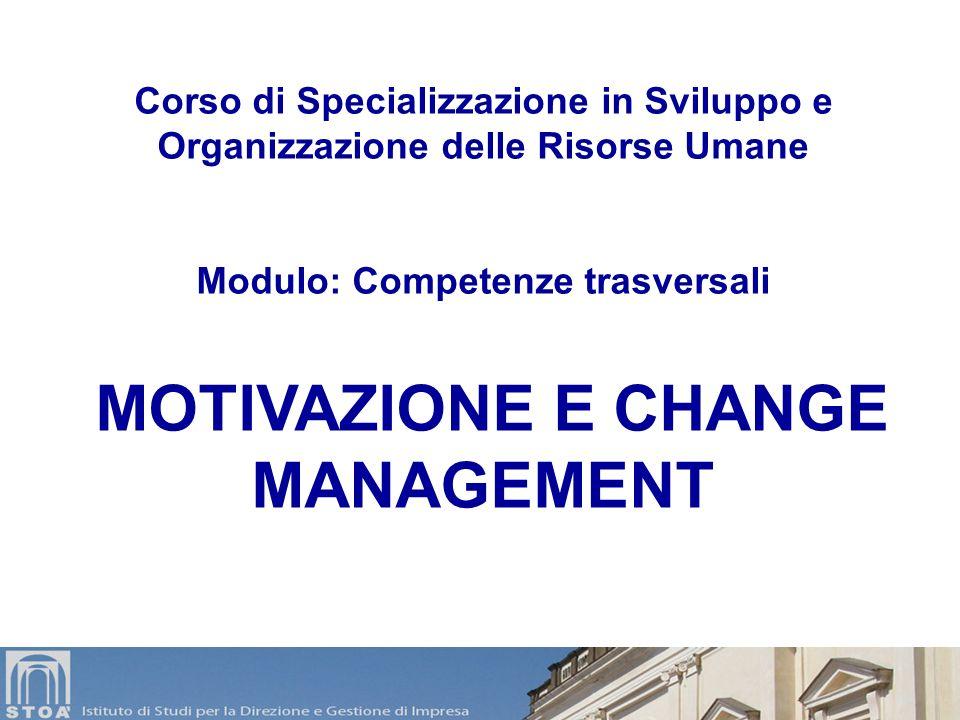 Modulo: Competenze trasversali MOTIVAZIONE E CHANGE MANAGEMENT