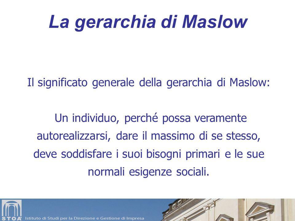 Il significato generale della gerarchia di Maslow: