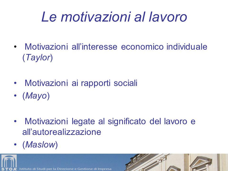 Le motivazioni al lavoro