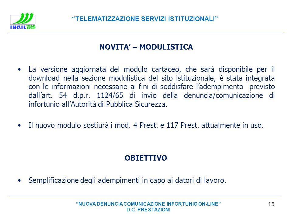 NUOVA DENUNCIA COMUNICAZIONE INFORTUNIO ON-LINE