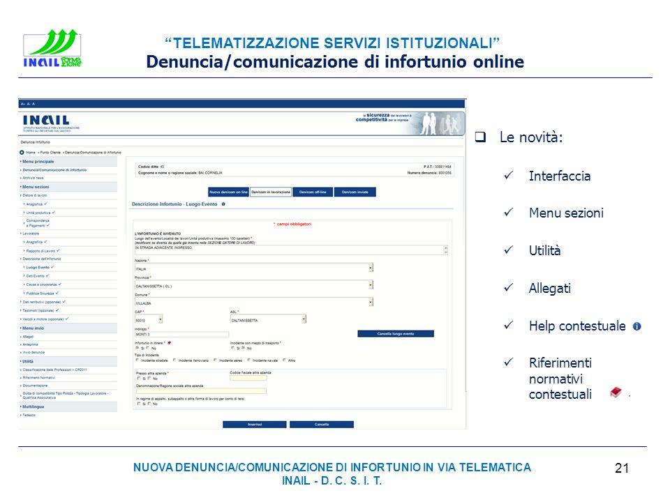 Denuncia/comunicazione di infortunio online