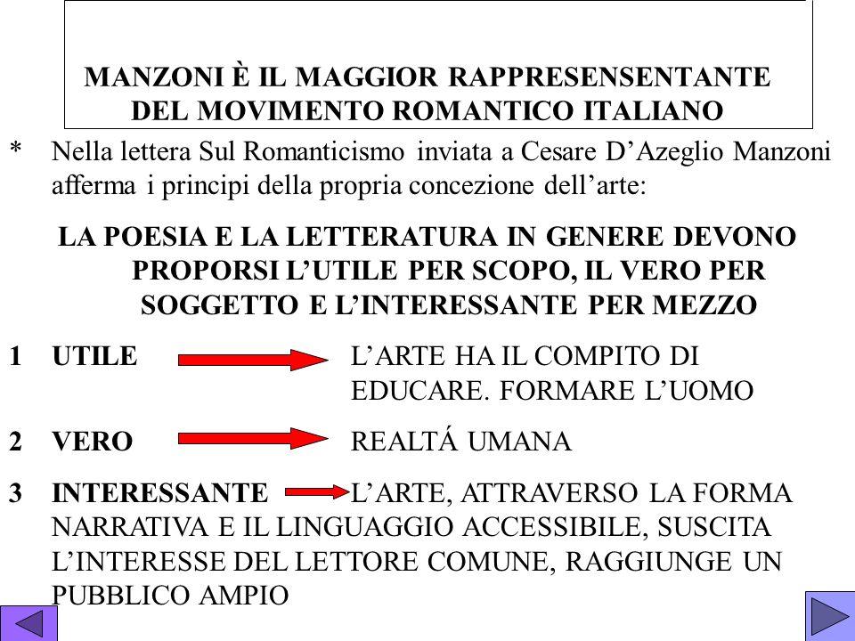 MANZONI È IL MAGGIOR RAPPRESENSENTANTE DEL MOVIMENTO ROMANTICO ITALIANO