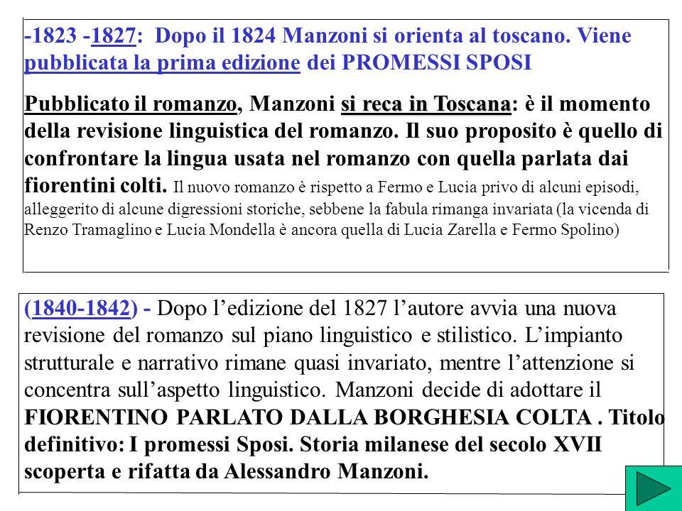 -1823 -1827: Dopo il 1824 Manzoni si orienta al toscano