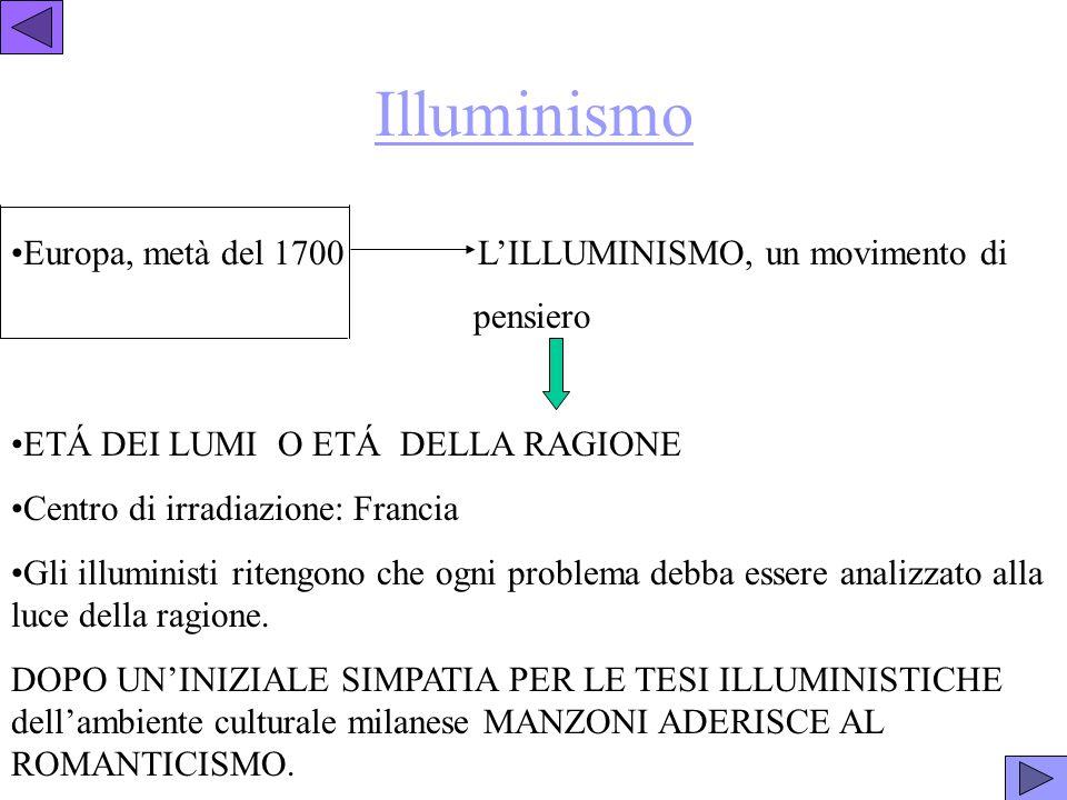Illuminismo Europa, metà del 1700 L'ILLUMINISMO, un movimento di