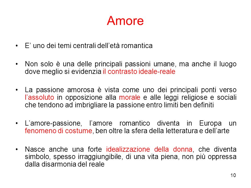 Amore E' uno dei temi centrali dell'età romantica