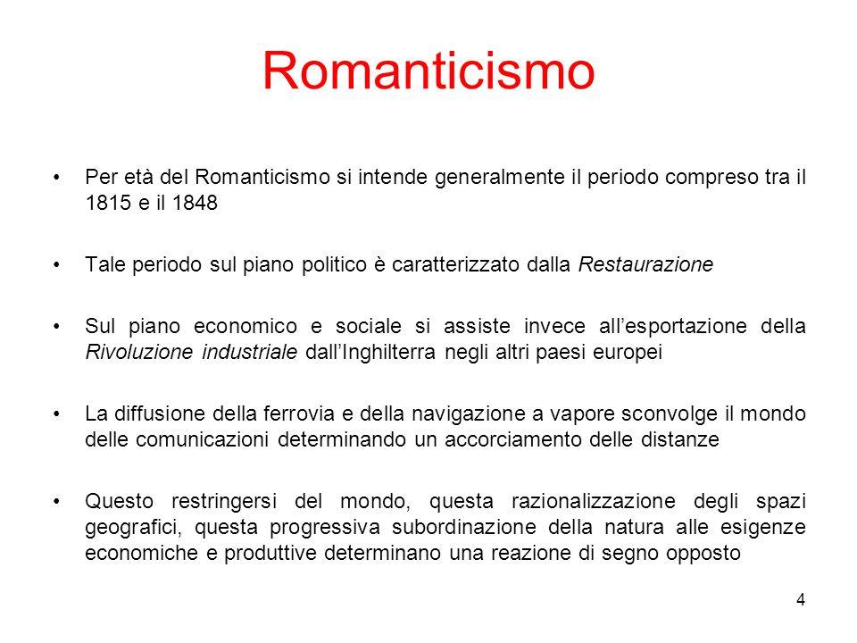 RomanticismoPer età del Romanticismo si intende generalmente il periodo compreso tra il 1815 e il 1848.