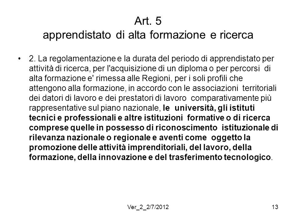 Art. 5 apprendistato di alta formazione e ricerca